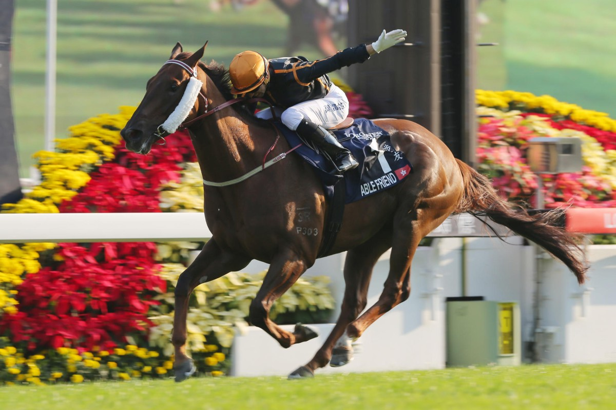 Able Friend, with Joao Moreira aboard, shows his class to storm away to win the Hong Kong Mile on Sunday. Photo: Kenneth Chan