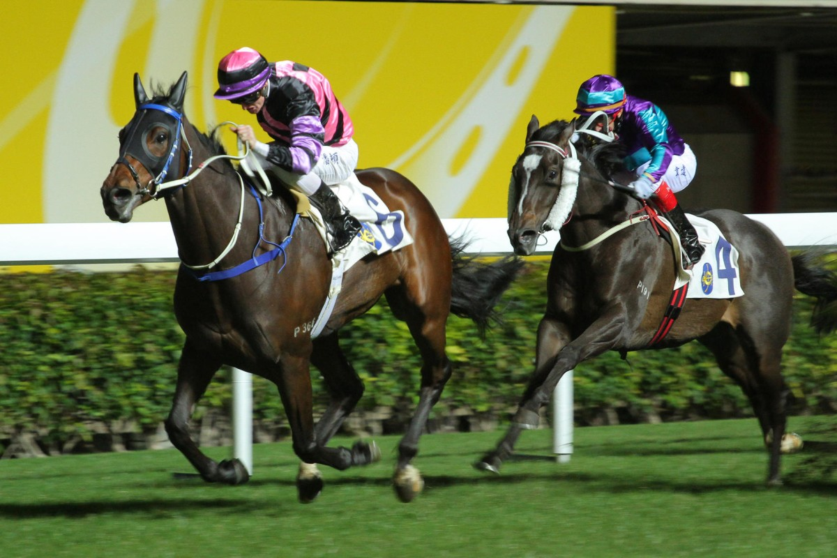Zac Purton drives Domineer over the line to win the Happy Valley Trophy and complete his four-timer on the night. Photos: Kenneth Chan