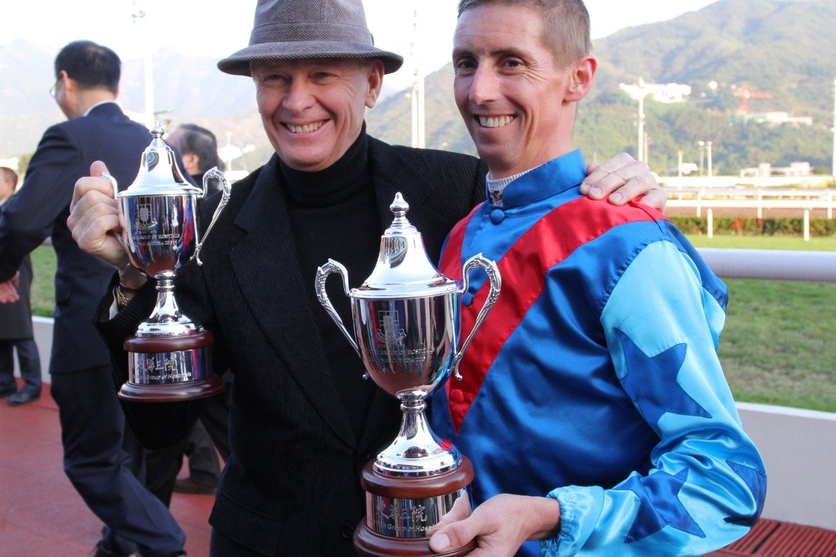 Nash Rawiller with John Moore after winning a feature race in October. Photos: Kenneth Chan