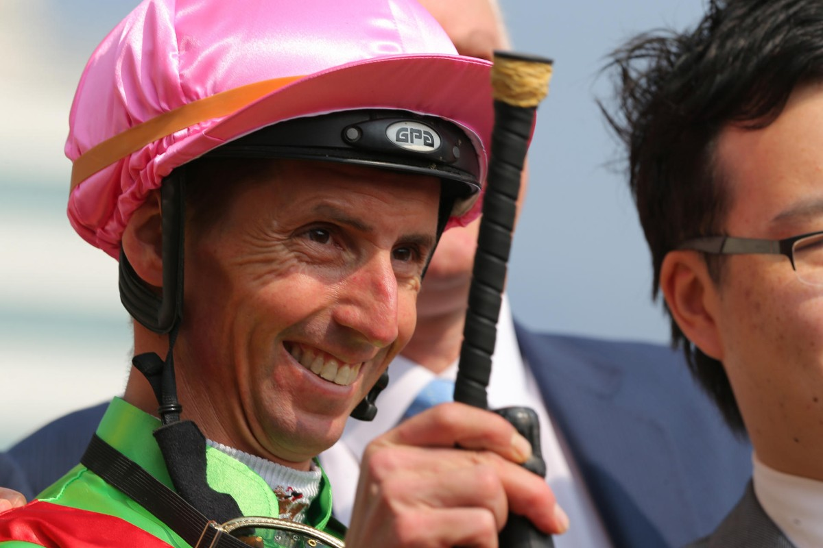 Nash Rawiller is all smiles after Good Luck Boy brings up the first leg of his brace. Photo: Kenneth Chan