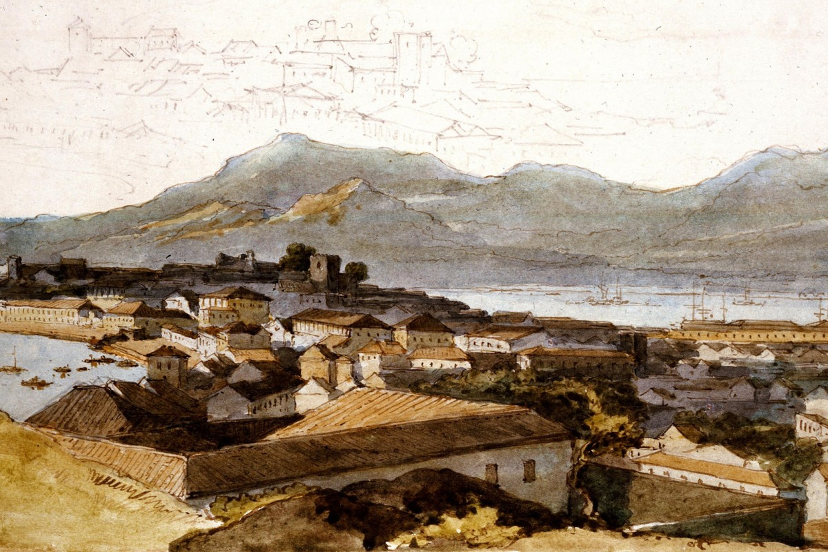 A panoramic view of Macau by George Chinnery.