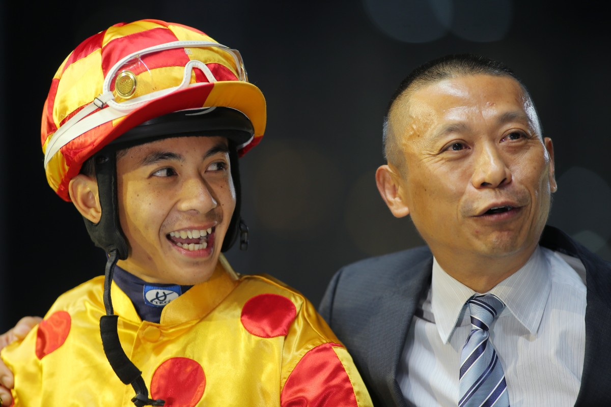 It was a big night for both Derek Leung and Danny Shum, with Leung confirming his spot in the International Jockeys' Championship and Shum preparing a treble. Photo: Kenneth Chan