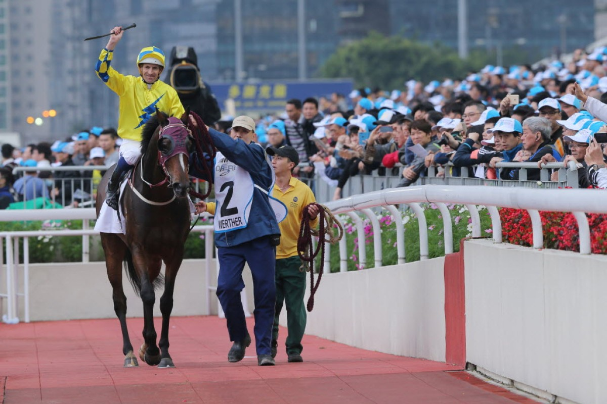 John Moore-trained Werther and Hugh Bowman after winning this year's BMW Hong Kong Derby at Sha Tin. Photo: Kenneth Chan