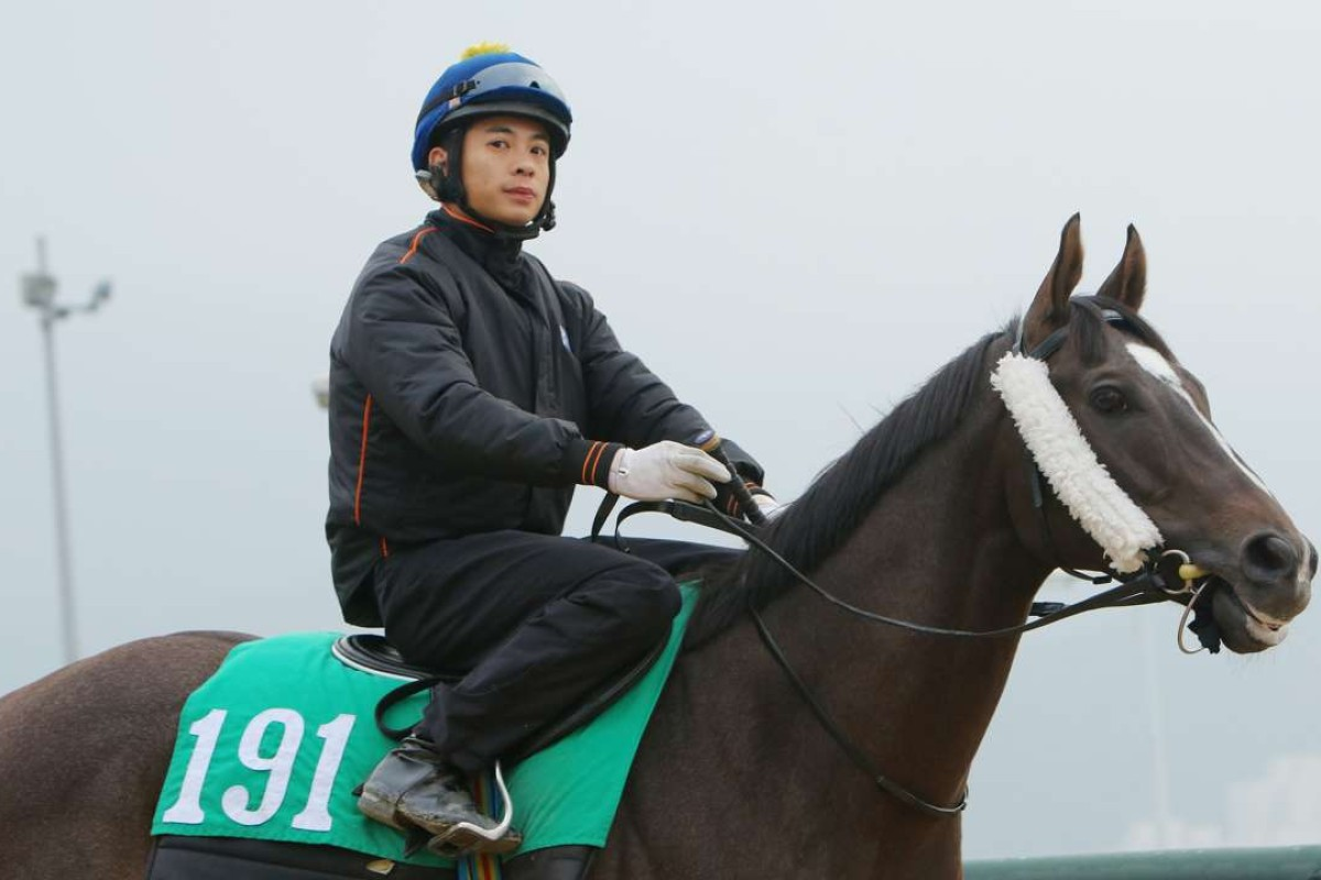 Derek Leung, pictured at trackwork aboard Exciting Dream, became the first jockey to fall foul of the new careless riding penalty system. Photo: Kenneth Chan