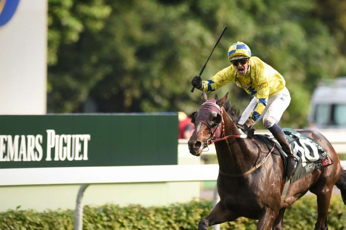 Hugh Bowman celebrates as Werther storms home at Sha Tin in the Audemars Piguet QEII Cup. Photo: AFP