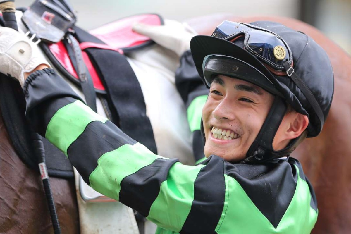Keith Yeung was all smiles after scoring a winning double with Inventor and Fish N' Chips. Photo: Kenneth Chan