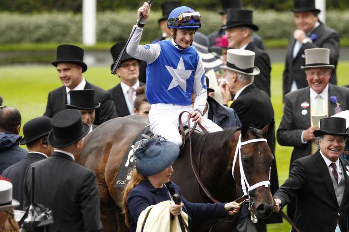 Julien Leparoux celebrates after winning the Queen Anne Stakes on American mare Tepin. Photo: Reuters