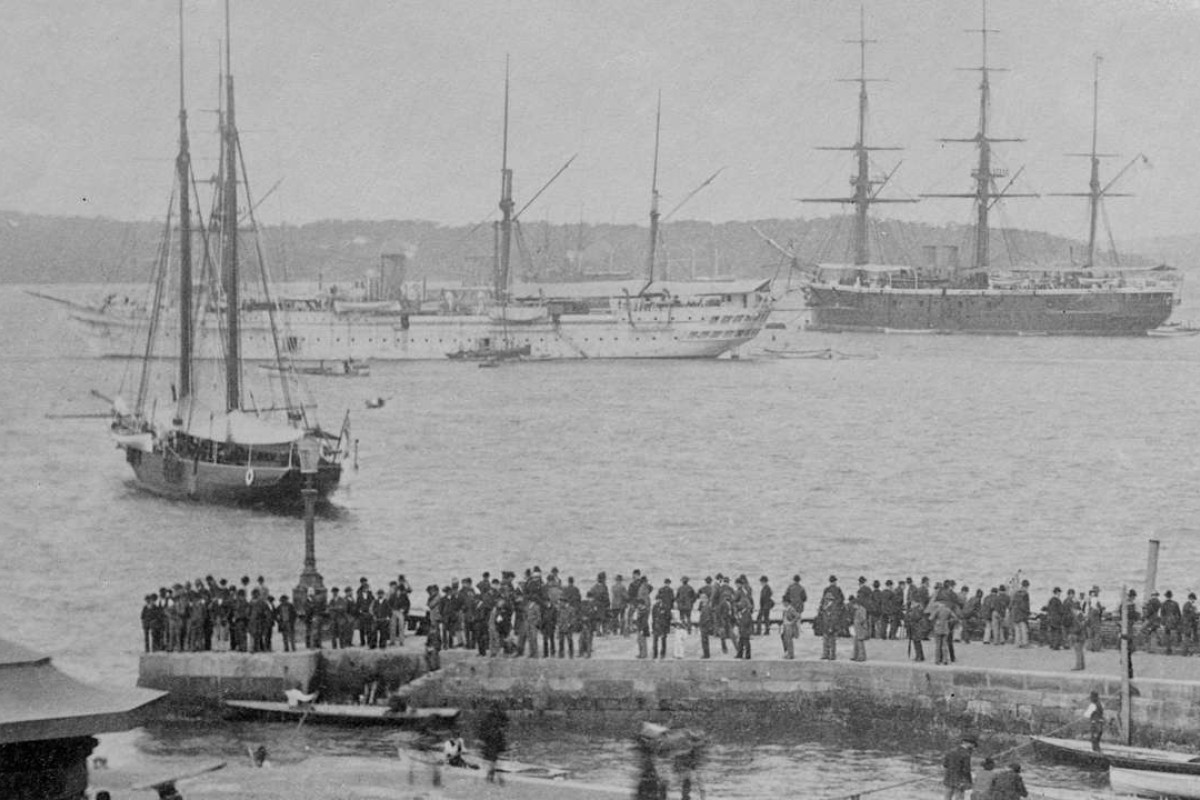 HMS Tamar (white) in Sydney, Australia, in 1882. Picture: State Library of Victoria