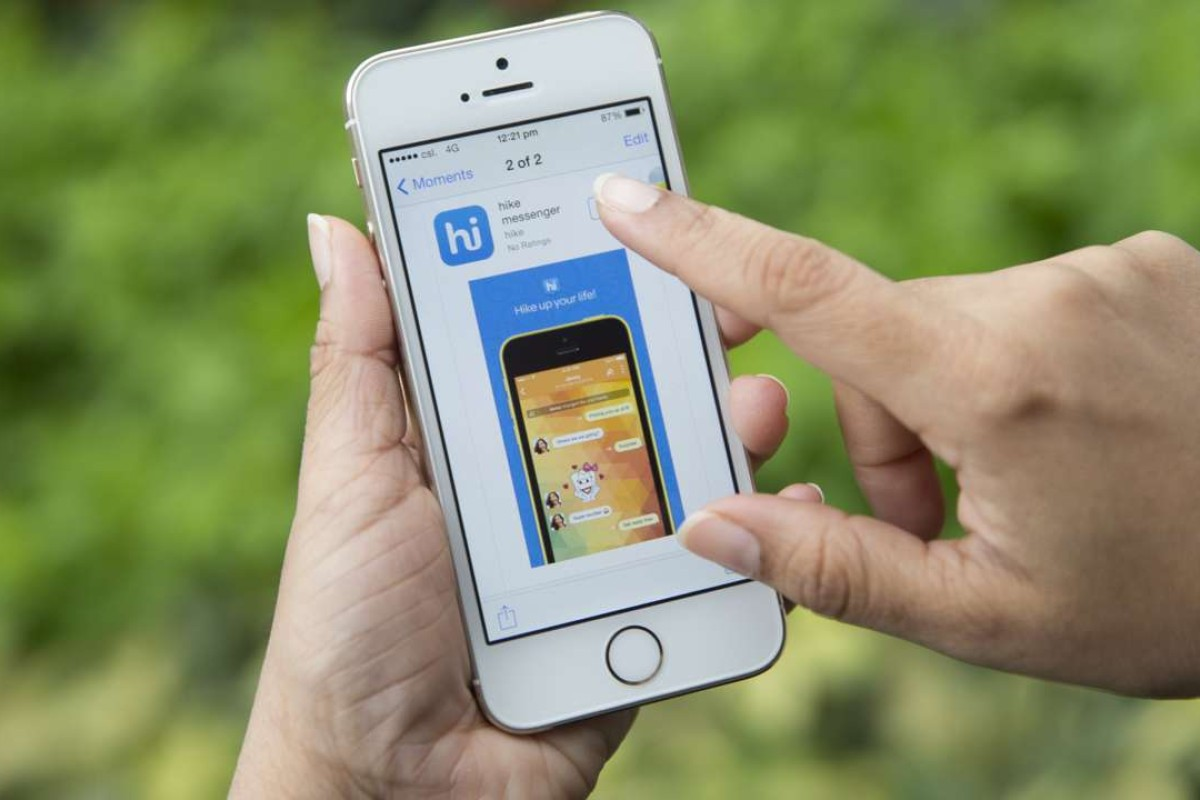 The download page for the Hike Messenger chat application – a competitor to WhatsApp. Photo: Bloomberg