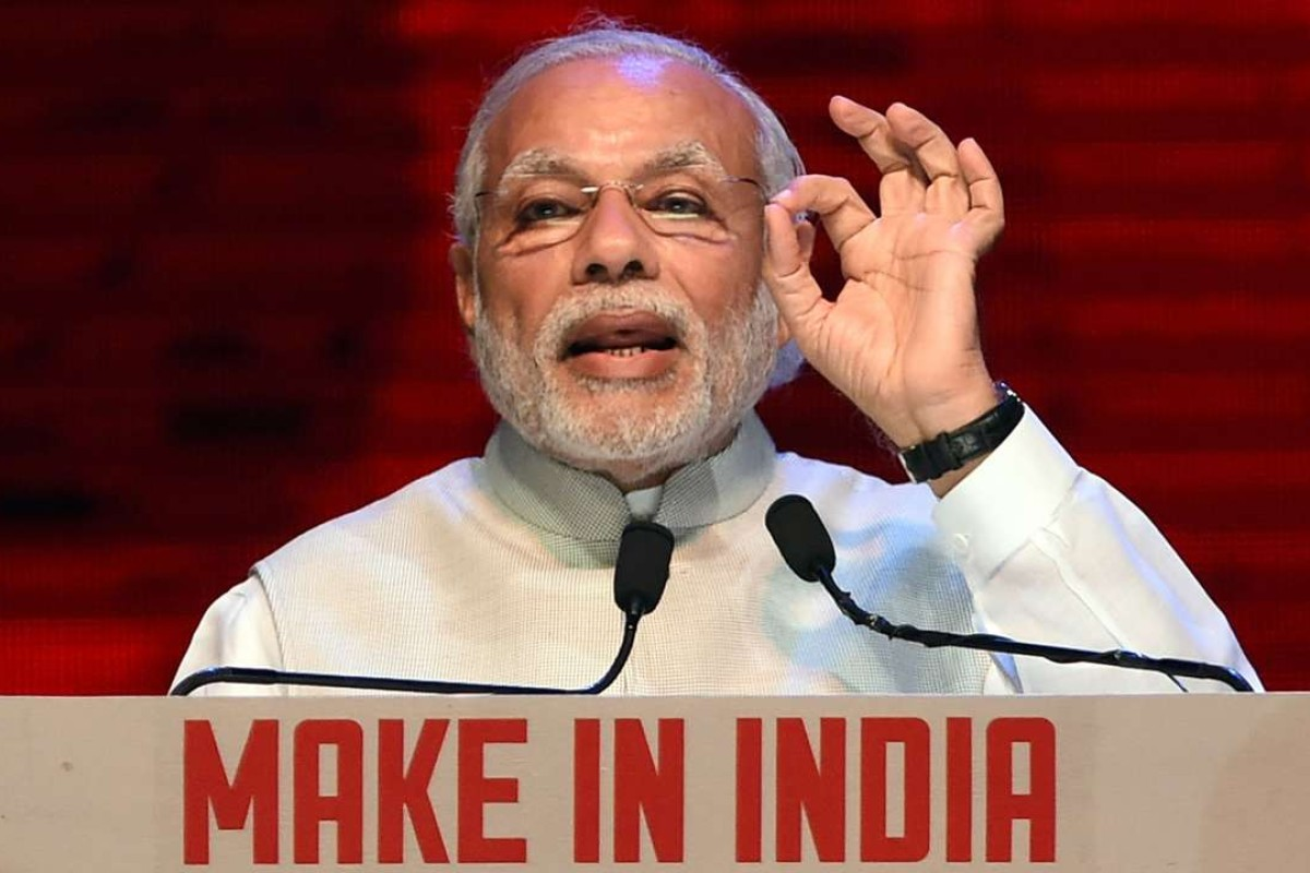 Indian Prime Minister Narendra Modi speaks at the 'Make in India Week' in Mumbai. Photo: AFP