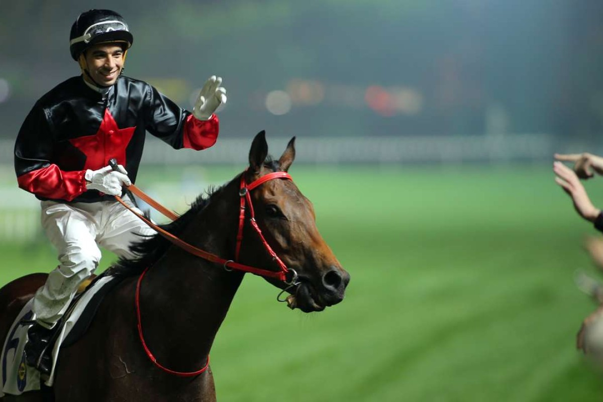 Joao Moreira and King Of Mongolia after winning at Happy Valley in March. Photo: Kenneth Chan