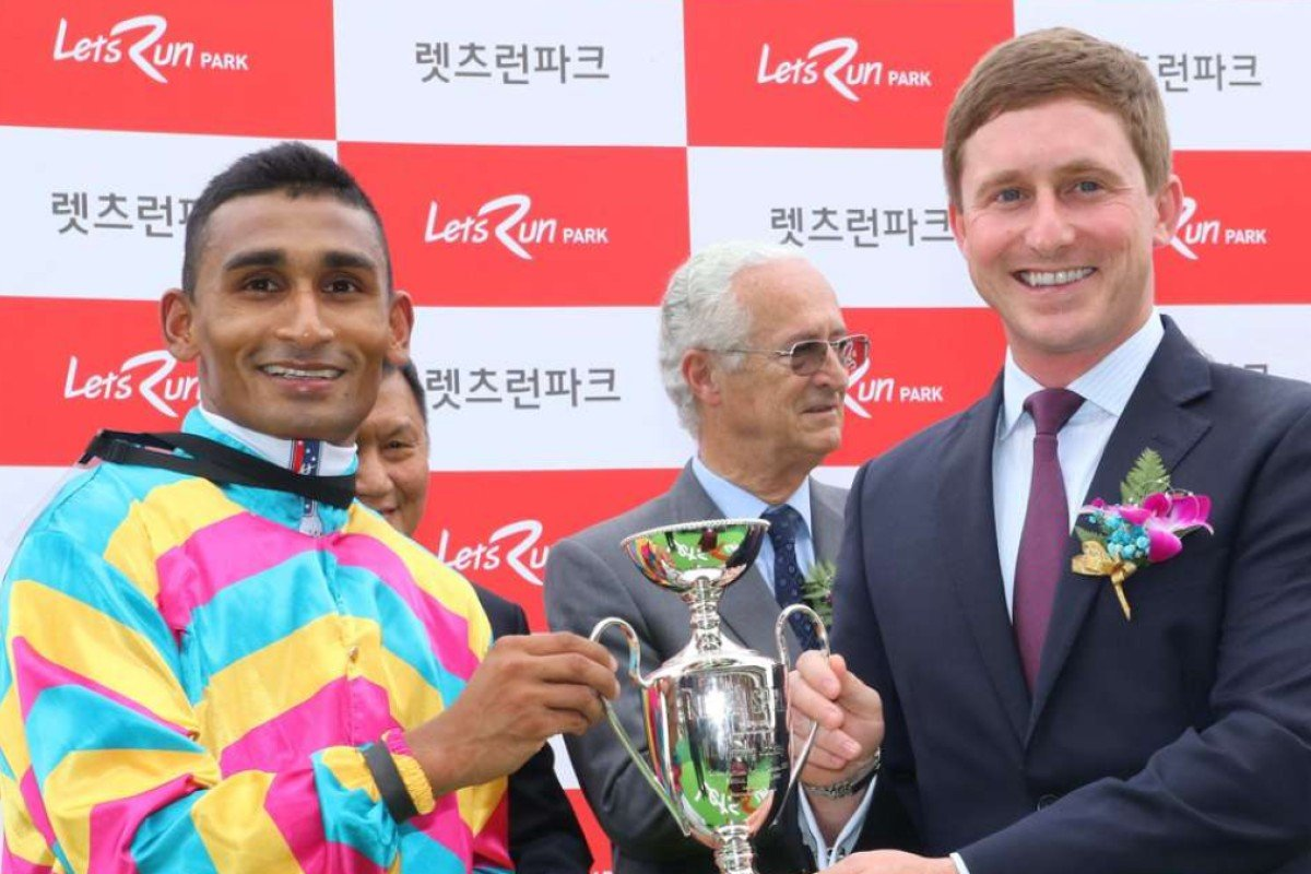 Karis Teetan collects the spoils after winning the Korea Sprint on Super Jockey. Photos: Lo Chun-kit
