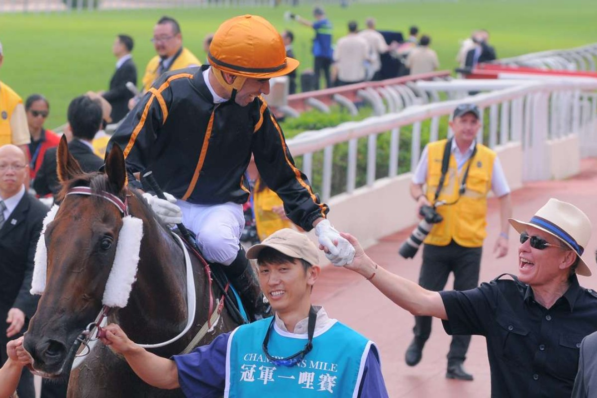 Able Friend returns to scale after winning the Group One Champions Mile. Photos: Kenneth Chan