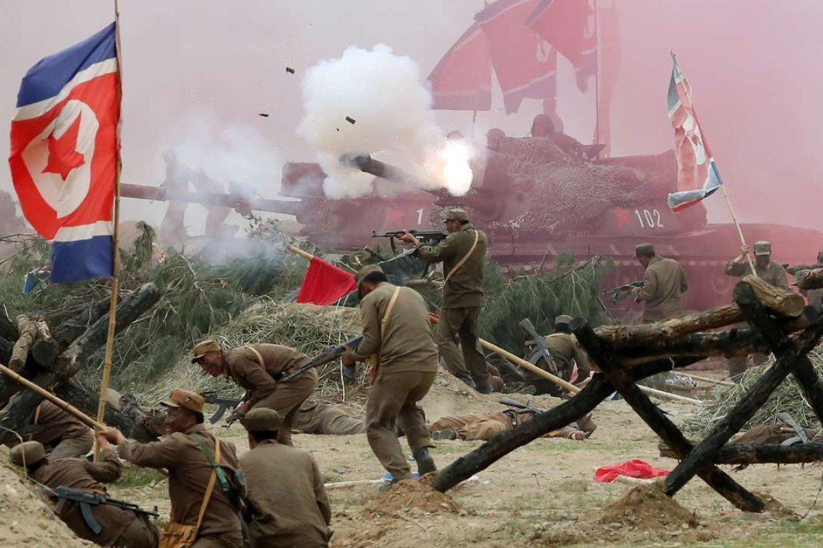 South Korean soldiers re-enact the 1950 battle of Nakdong River to commemorate the Korean War battle. Photo: AFP