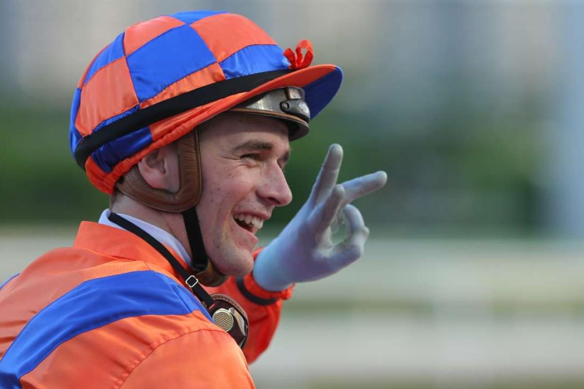 Jockey Sam Clipperton counts his three winners after a big day at Sha Tin. Photos: Kenneth Chan