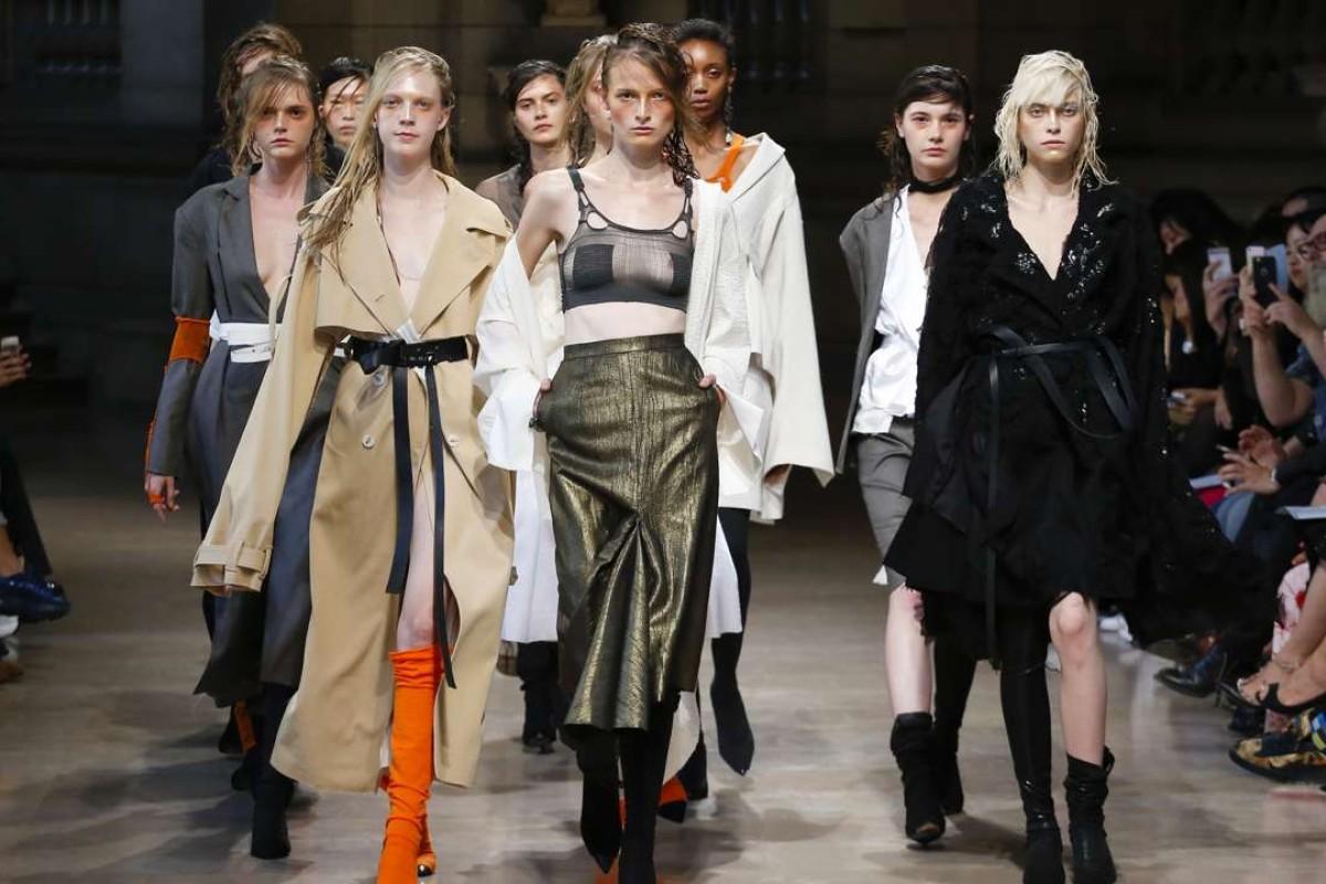 Models on Hong Kong brand Id's runway show at Paris Fashion Week.