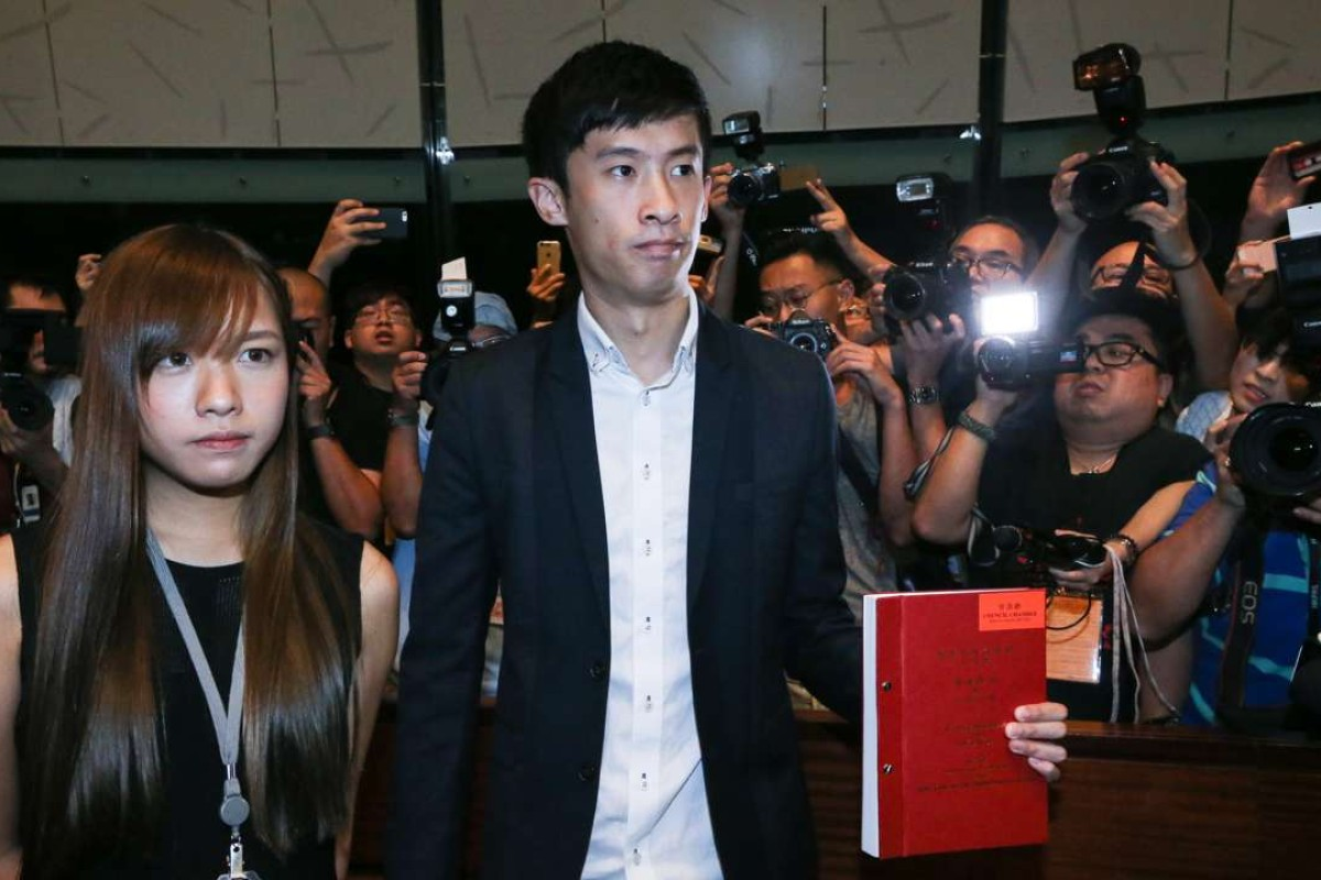 """Lawmaker Yau Wai-ching and Sixtus """"Baggio"""" Leung Chung-hang of Youngspiration have caused uproar with their use of the word 'Chee-na'. Photo: Sam Tsang"""
