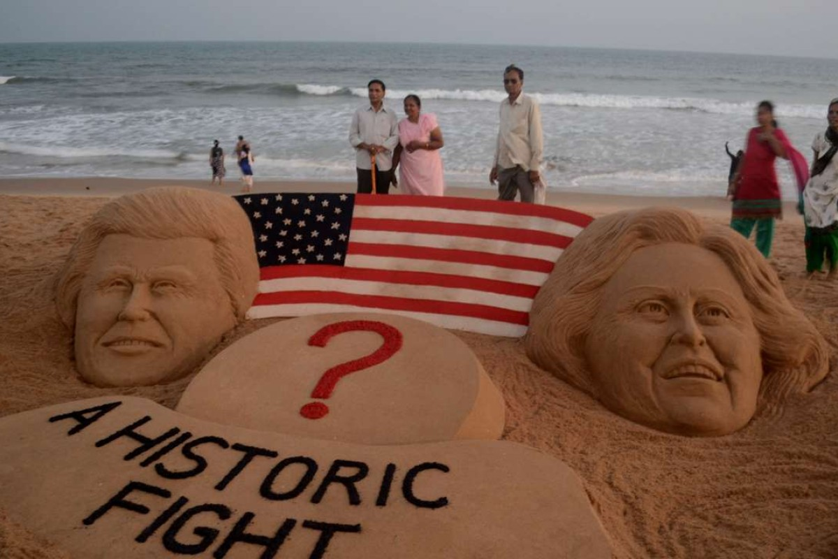 A sand sculpture by artist Sudarsan Pattnaik showing US presidential candidates Hillary Clinton and Donald Trump in Puri, 65km from the eastern Indian city Bhubaneswar. Photo: AFP