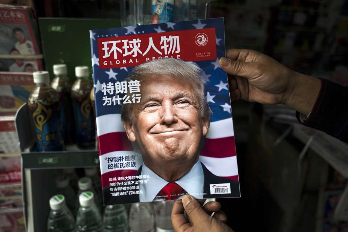 A copy of the Chinese magazine Global People with a cover story asking 'Why did Trump win?' in Shanghai. Photo: AFP