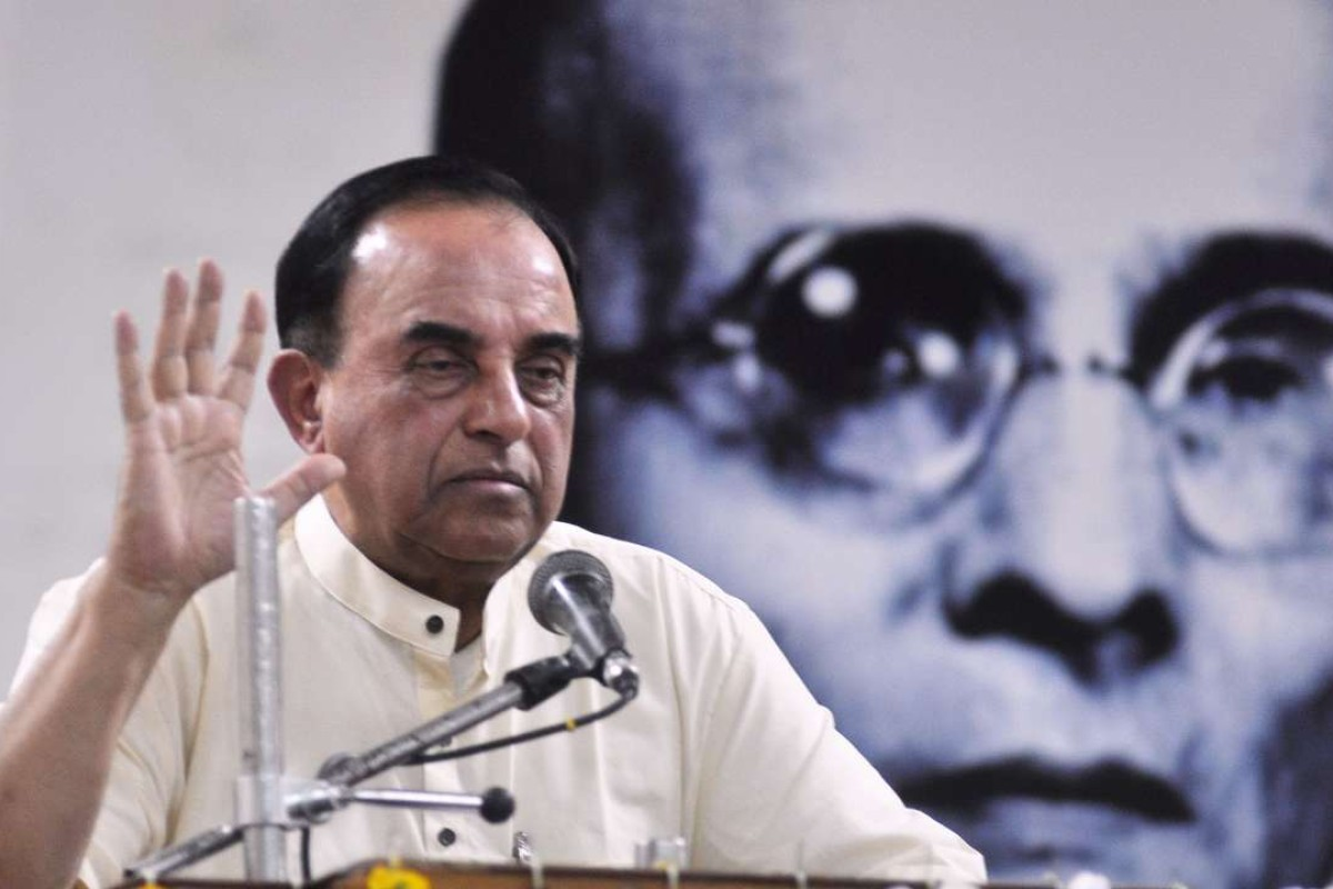 Subramanian Swamy delivers a lecture on the freedom fighter Vinayak Sawarkar. Photo: AFP