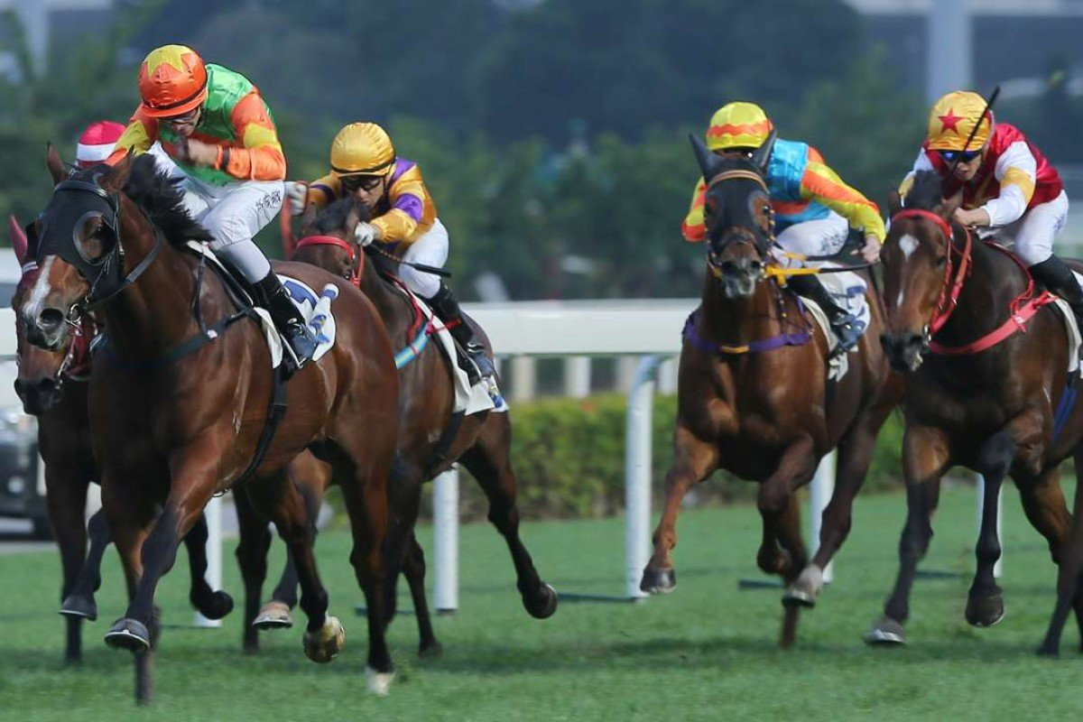 Jollu Jolly wins at Sha Tin on Saturday, Bring It On (right) runs second. Photos: Kenneth Chan
