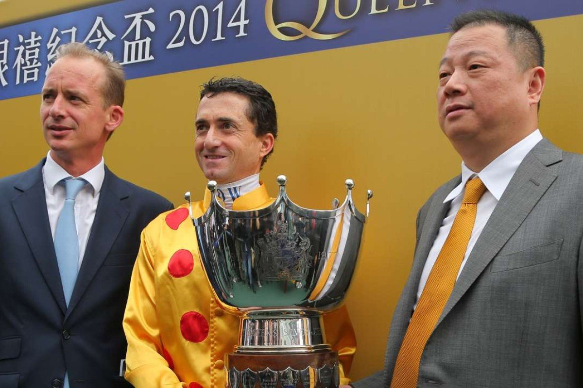 Trainer Richard Gibson, jockey Douglas Whyte and owner Pan Sutong in happier times. Photos: Kenneth Chan