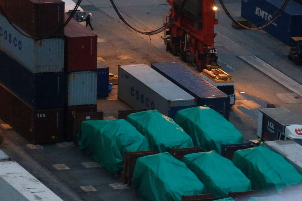 Six of the nine armoured troop carriers belonging to Singapore, from a shipment detained at a container terminal, in Hong Kong. Photo: Reuters