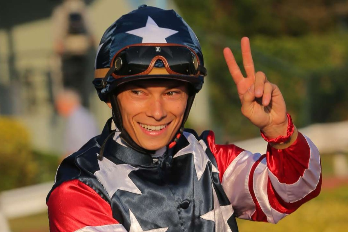 Alexis Badel is all smiles after a double at Sha Tin on Sunday. Photos: Kenneth Chan