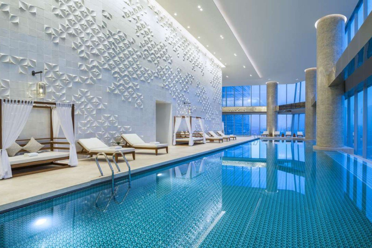 The heated indoor pool of the Meixi Lake Hotel in Changsha.