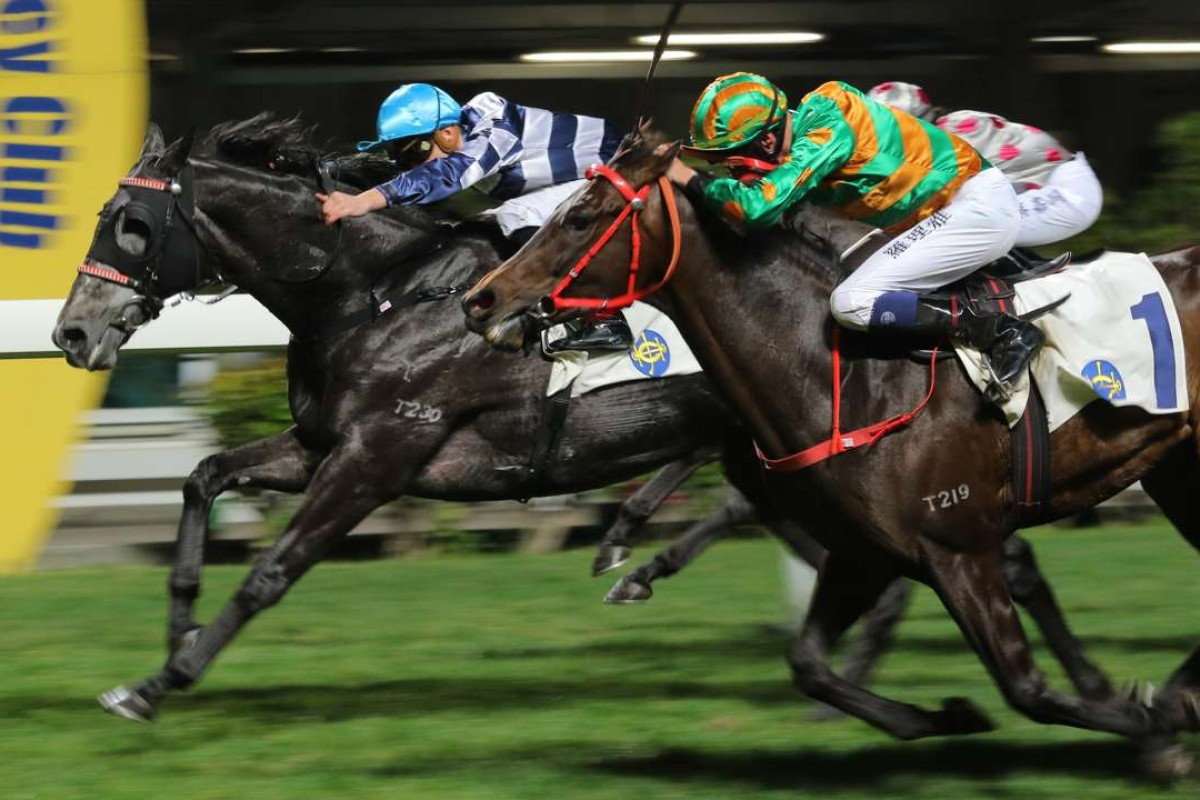 Chad Schofield drives Packing Dragon to hold off the fast-finishing Circuit Land (Nash Rawiller) and win at Happy Valley on Wednesday night. Photos: Kenneth Chan