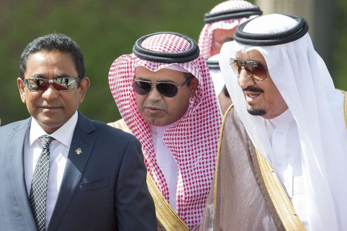 Saudi King Salman welcomes the Maldivian President Abdulla Yameen Abdul Gayoom to Riyadh in 2016. Photo: AFP