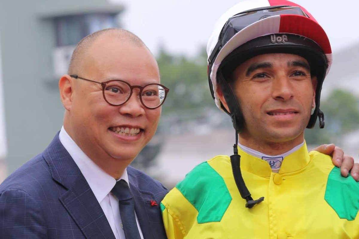 Chris So and Joao Moreira after Bravo Watchman's victory at Sha Tin on Sunday. Photos: Kenneth Chan