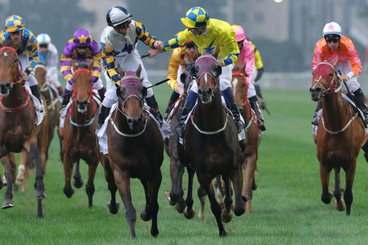 Werther (yellow) wins the 2016 Hong Kong Derby. Photo: Kenneth Chan