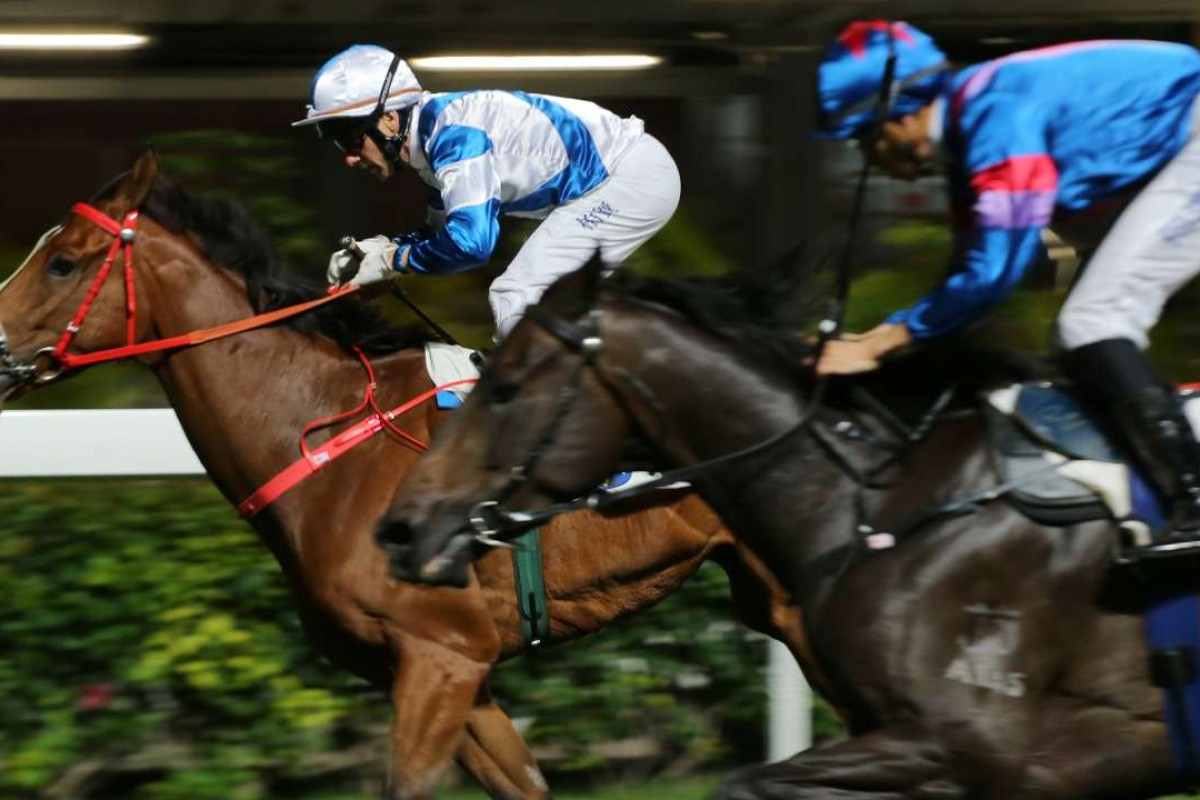 Brett Prebble and Nashashuk edge out the fast-finishing Empire Star (Vincent Ho) at Happy Valley on Wednesday night. Photos: Kenneth Chan