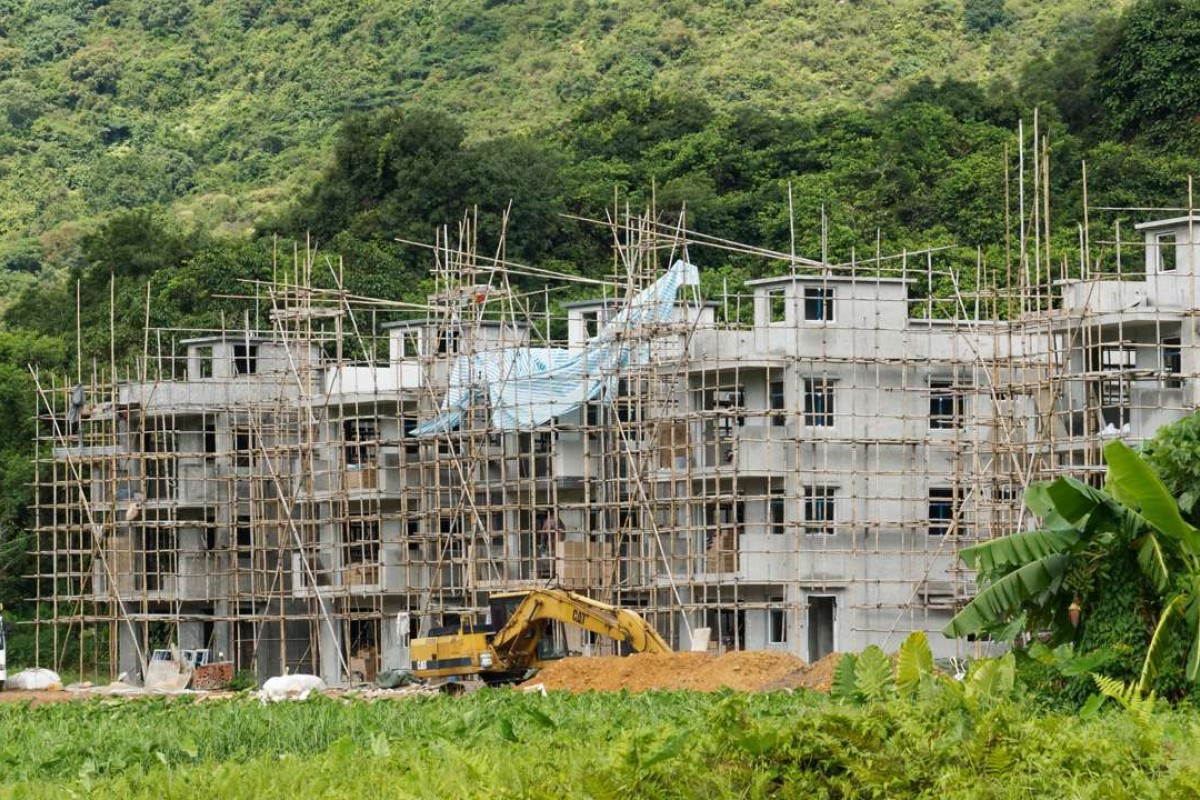 Small houses under construction at Hok Tau, in 2016. Picture: Martin Williams