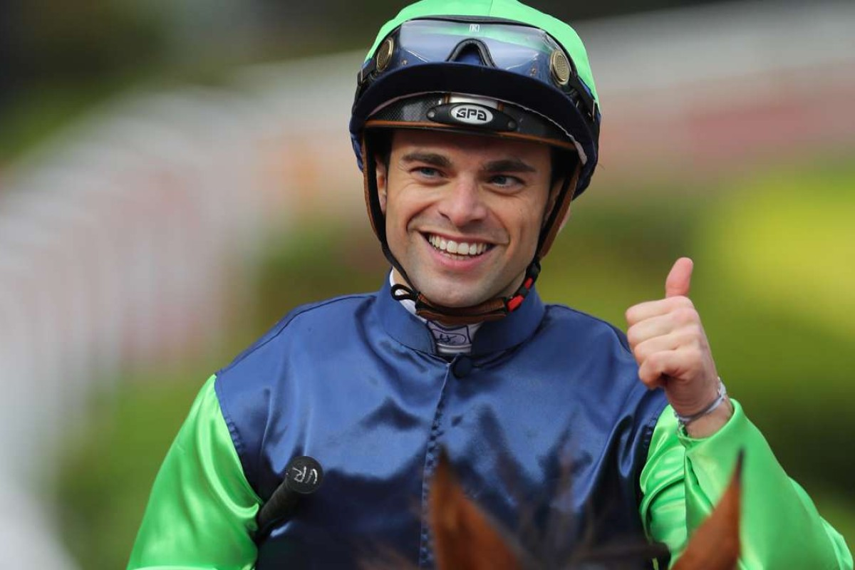 Umberto Rispoli is all smiles after winning on Right Call at Sha Tin on Sunday. Photos: Kenneth Chan