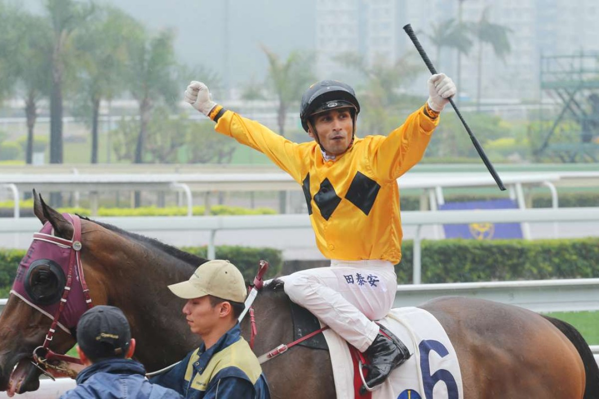 Karis Teetan celebrates his win aboard Dashing Fellow on Sunday at Sha Tin. Photos: Kenneth Chan.