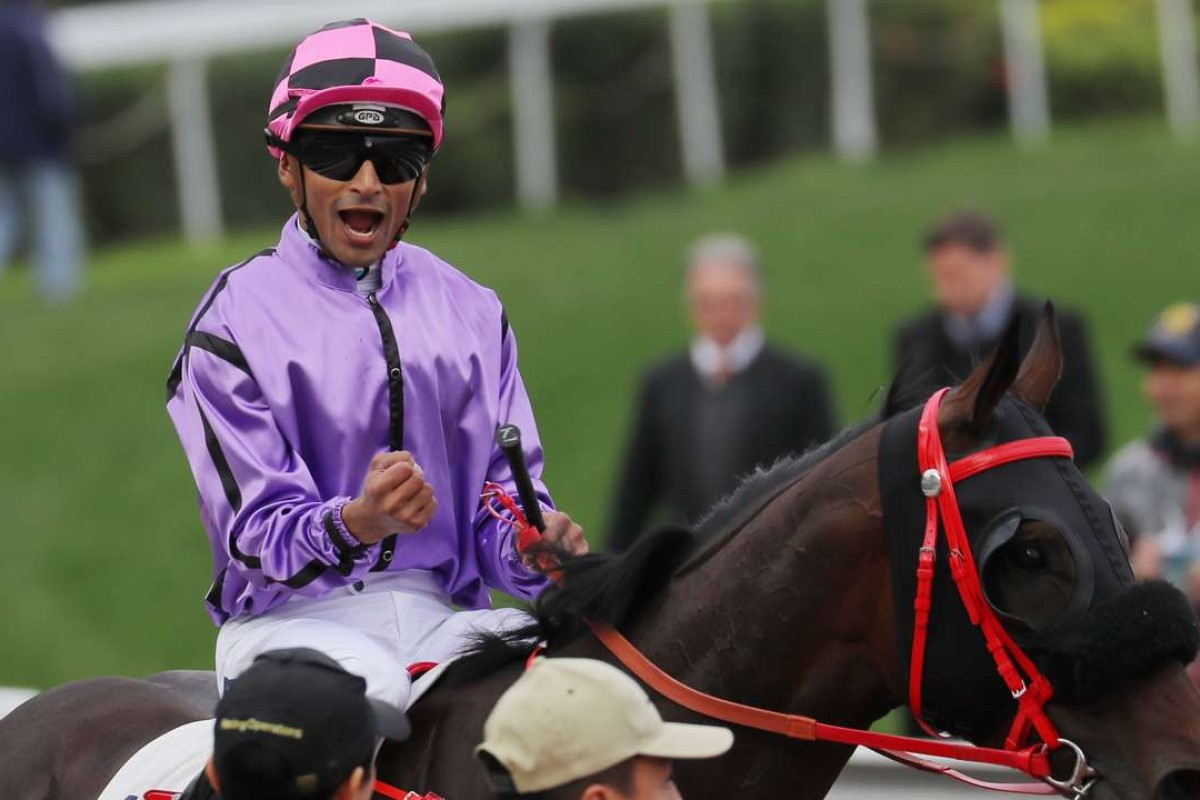 Karis Teetan celebrates What Else But You's victory at Sha Tin on Sunday. Photos: Kenneth Chan