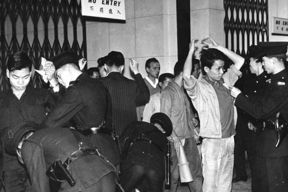 Police question demonstrators protesting against the Star Ferry fare increase in 1966. Photo: SCMP