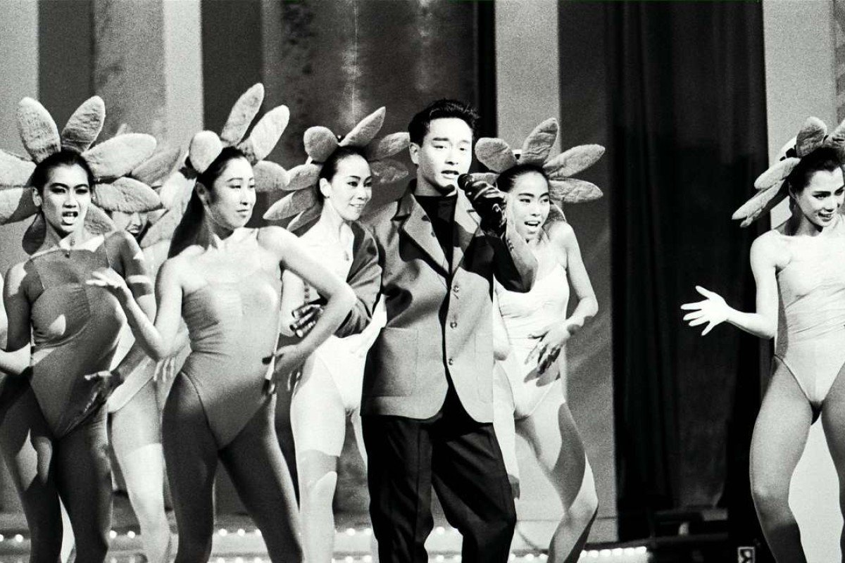 Canto-pop singer Leslie Cheung Kwok-wing singing in the Miss Chinese International Pageant in 1988.