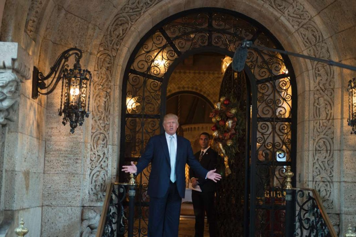 US President Donald Trump answers questions at Mar-a-Lago in Palm Beach, Florida. Next week the US president will have an informal summit with Chinese President Xi Jinping at the resort. Photo: AFP