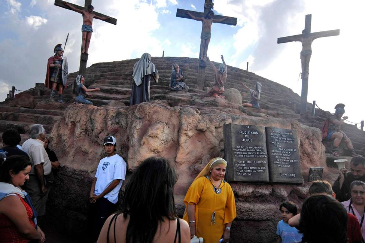 An Easter exhibit at the Jesus theme park, aka Tierra Santa, in Buenos Aires. Picture: Alamy