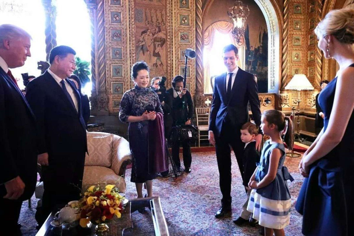 Trump's grandchildren sing to Xi and his wife in Chinese. Photo: China News Service