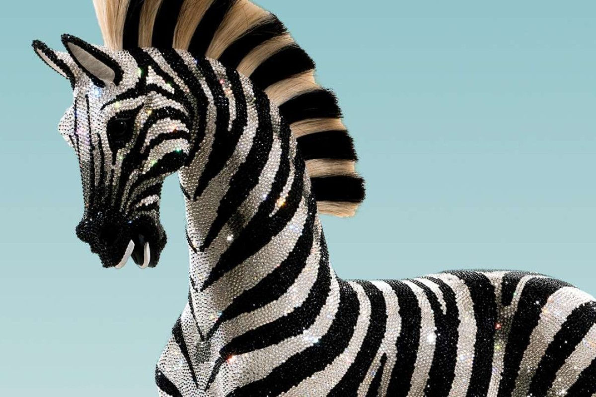 Zebra the rocking horse has more than 82,000 Swarovski crystals applied by hand.