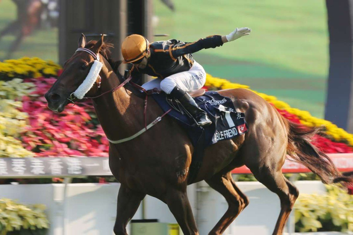 Able Friend sets sail with Joao Moreira aboard in the 2014 Group One Hong Kong Mile. Photos: Kenneth Chan.