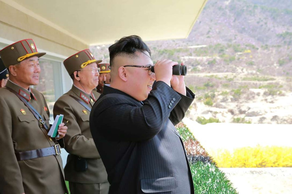"""North Korean leader Kim Jong-un inspects a """"Dropping and Target-striking Contest of KPA Special Operation Forces"""". Kim has so far shown no signs of capitulation amid threats from the United States. Photo: AFP"""