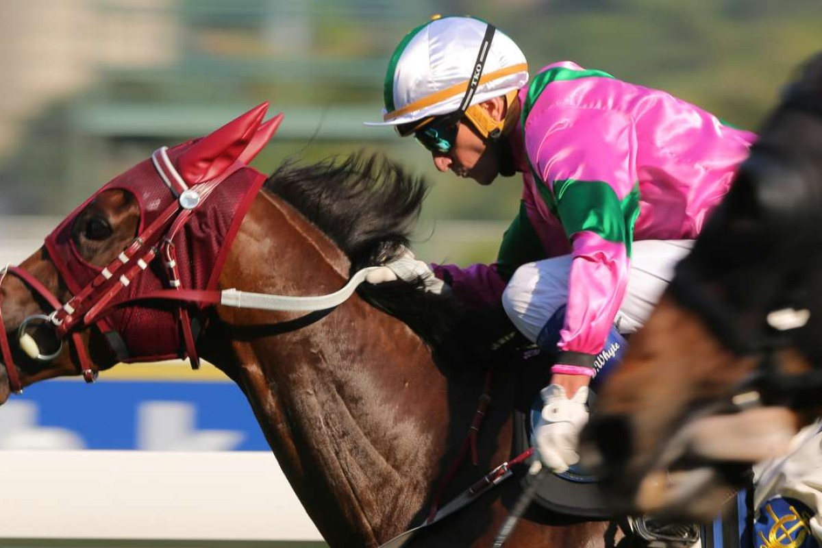 Douglas Whyte drives Magic Legend to victory at Sha Tin on Monday. Photos: Kenneth Chan