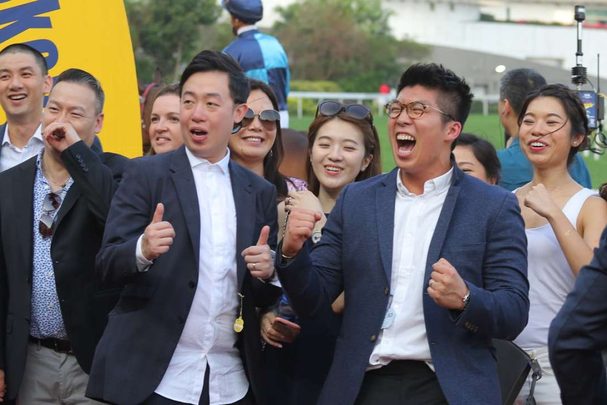 Friends of the owner of Sunny Way celebrate the win at Sha Tin on Monday. Photos: Kenneth Chan