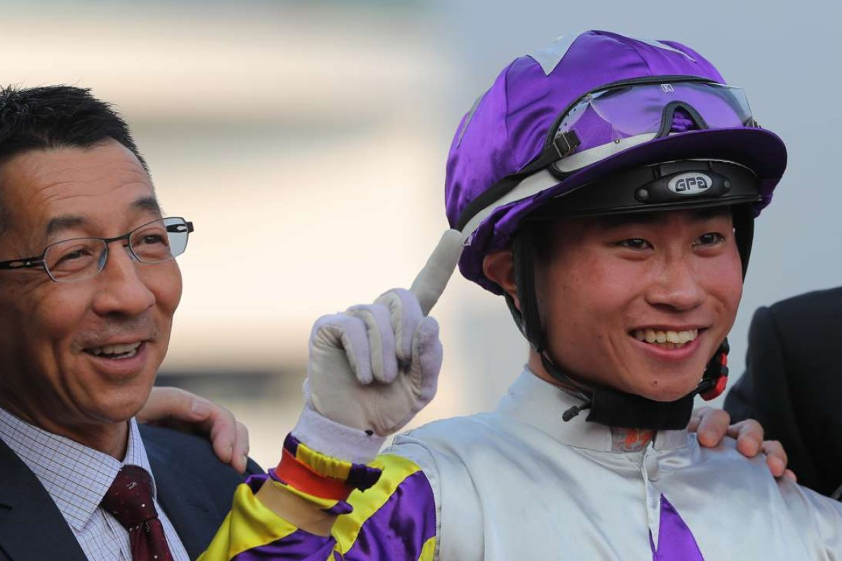 Me Tsui and Dylan Mo celebrate Shamal's win at Sha Tin on Sunday. Photos: Kenneth Chan
