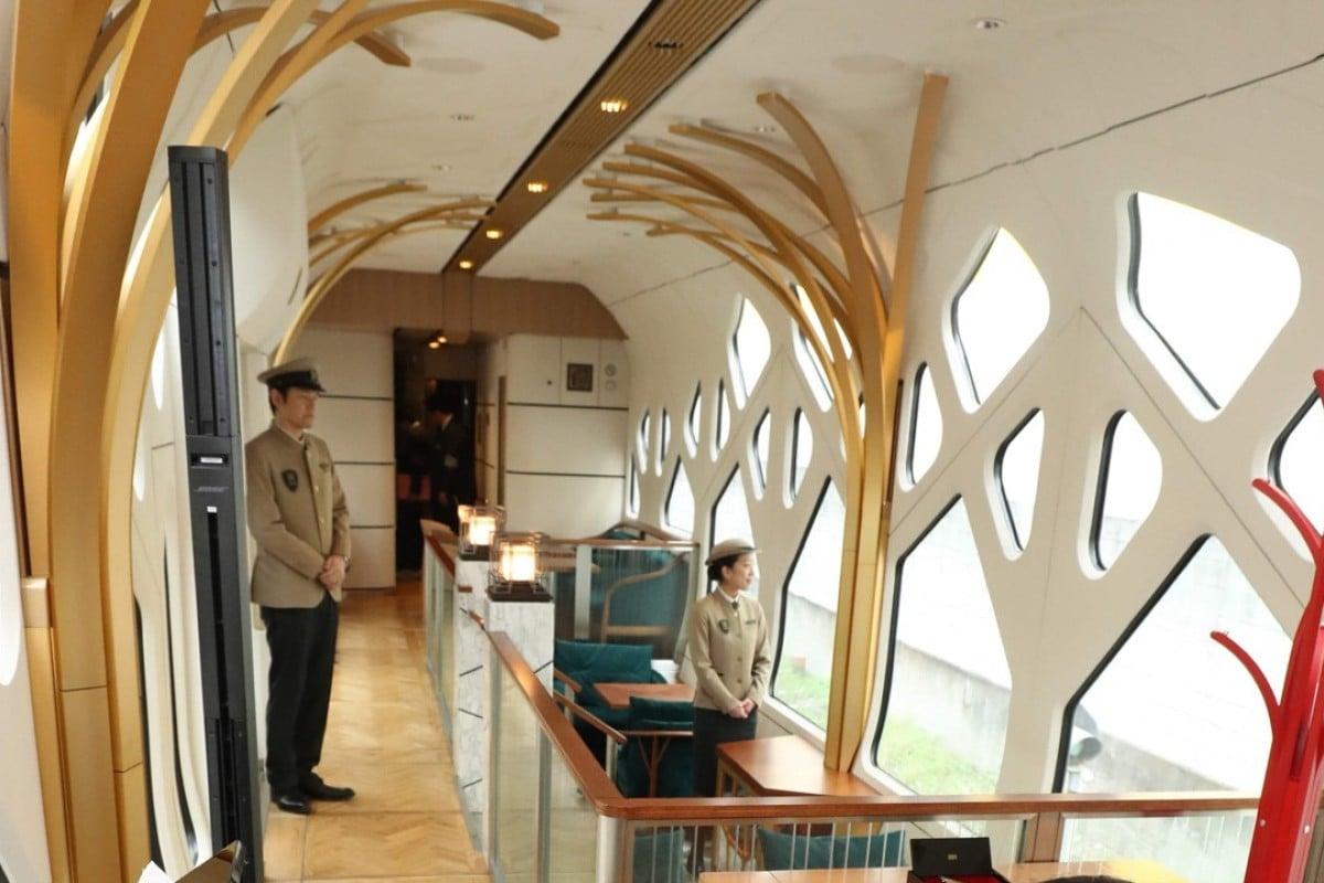 The lounge car of the Train Suite Shiki-Shima. Photo: AFP